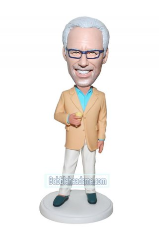 Custom Businessman bobblehead Male In Orange Jacket With A Glass