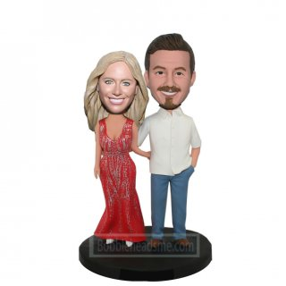 Customized Couple Bobbleheads Doll In Casual Dress Hands Around