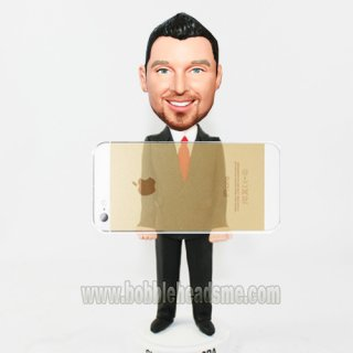 Business Card Holder Male In Black Suit Bobble doll