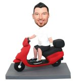 Personalized Man Driving Red Scootor Bobble Doll