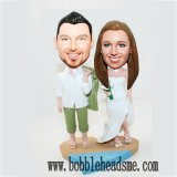 Cheap Beach Wedding Custom Bobblehead On Half Sand And Sea Base