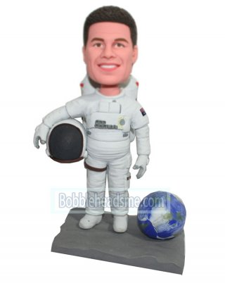 Custom Bobbleheads Astronaut In Spacesuit And The Earth On Base
