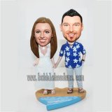 Beach Couple Hand In Hand Coustom Bobbleheads