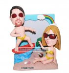 Personalized Beach Couple bobbleheads In Bikini And With Surfboa