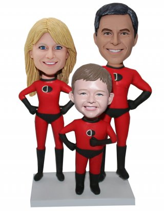 Disney's Incredibles Parents And Son Custom bobbleheads