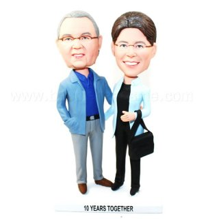 Couple Arms Around Each Other Custom Bobbleheads Doll