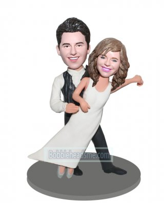 Custom Dance Wedding bobbleheads Groom Holding Bride