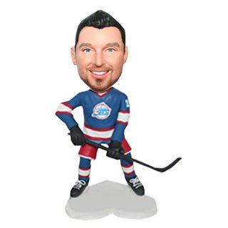 Custom Hockey Player With Stick Male Bobble Doll