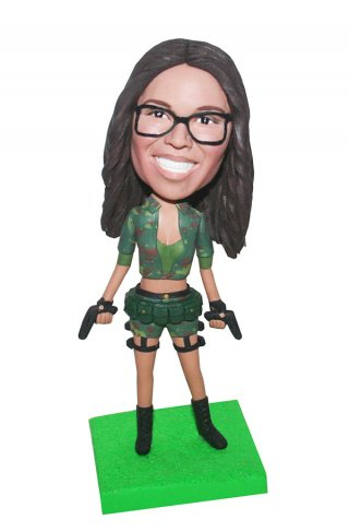 Personalized Military Bobbleheads In Camouflage Uniform With Gun