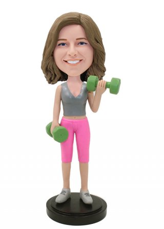 Custom Dumbbell Fitness Bobblehead Female Bodybuilder Bobblehead