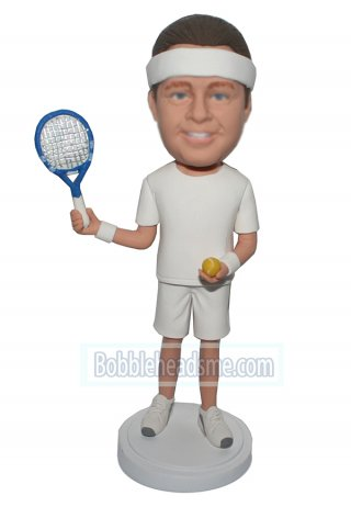 Custom Bobbleheads Male In All White Waving Tennis Bat