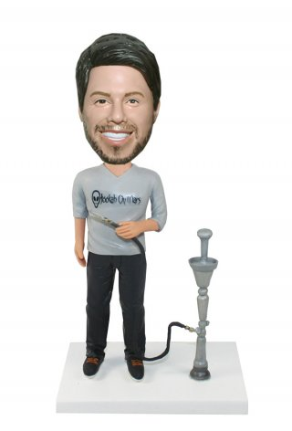 Custom Casual Male Bobblehead Next To A Pumping Smoke