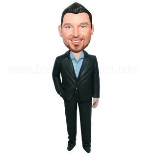 Black Suit No Tie Custom Groomsmen Bobblehead Doll