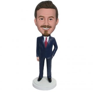 Navy Blue Suit Custom Male Bobblehead One Hand On Pocket