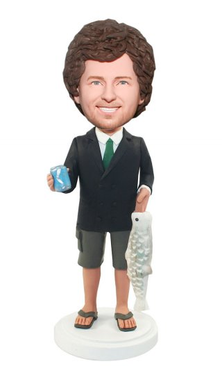 Custom Bobble head Male In Suit And Short Catching A Big Fish