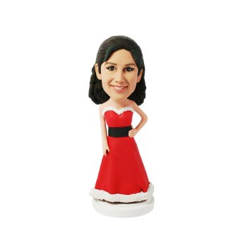 Female Santa Clause Long Red Dress Custom Bobblehead