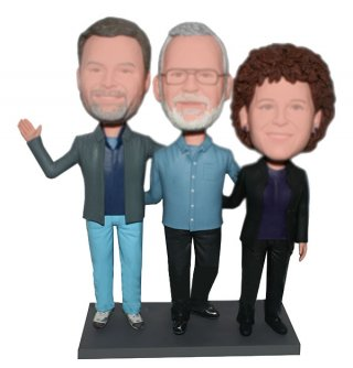 Custom Family bobbleheads Dad Arms Around Wife And Son