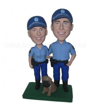 Police Uniform Couple With Pet bobblehead doll