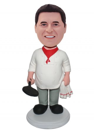 Customized Male Bobble Head Doll Holding Pan Chef