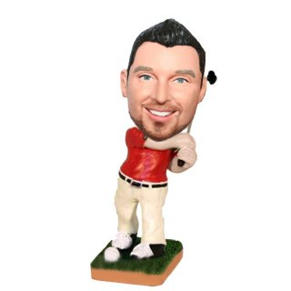 Golfing Man With Club Customized Bobblehead Doll