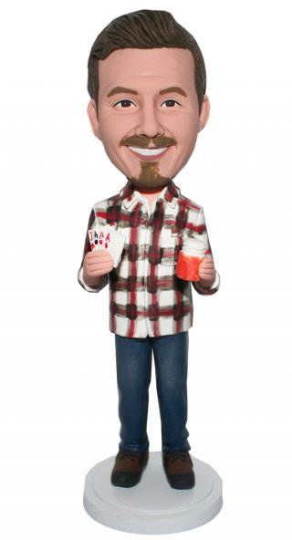 Custom Bobblehead Poker Player In Retro Shirt And Blue Jean