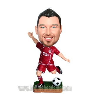 Red Jersey Man Kicking Soccer Ball Custom Bobbleheads