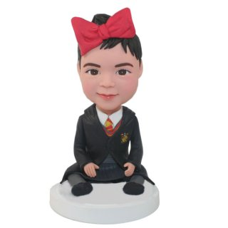 Girl In Kindergarten Graduation Dress Bobblehead Doll