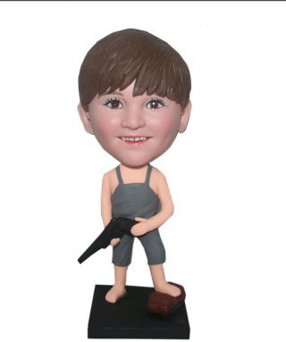 Custom Boy Bobblehead In Pjs With A Water Pistol