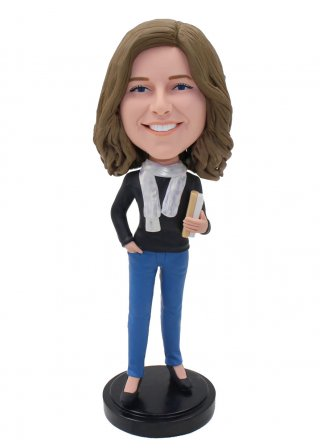 Customized Bobble Head Holding A Book Dolls