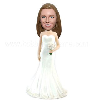 Long White Dress with White Flowers Custom Bobblehead