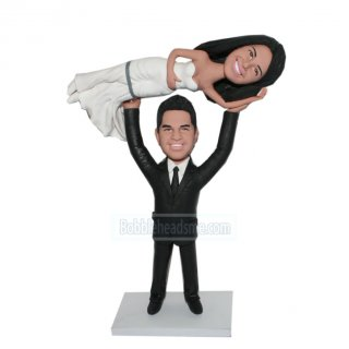 Custom Bobbleheads Groom Lifting Wedding Dress Bride