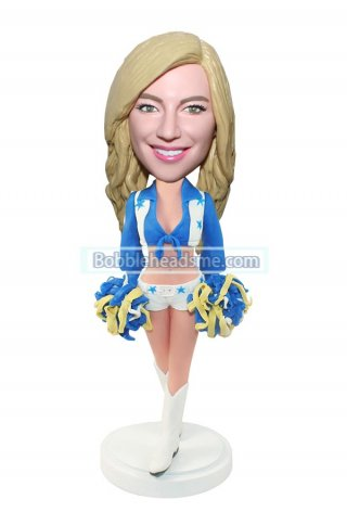 Sport Bobbleheads Cheerleader In Midriff-baring Top With Pom-pom