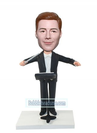 Musician bobbleheads Conductor In Black Suit With A Stick