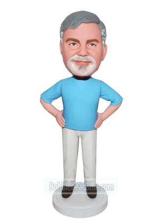 Custom Bobblehead doll Male In Casual Dress With Hands On Waist