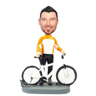 Custom Biker In Orange Bobbleheads Doll