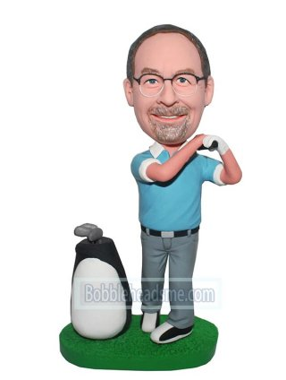 Custom Figurine Golfer With A Swift Swing Next To A Golf Bag