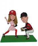 Custom Bobbleheads Baseball Couple Playing On A Green Grass Base