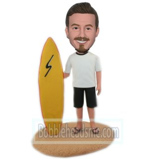 Custom Surfing Male Bobblehead Doll With A Yellow Surf Board