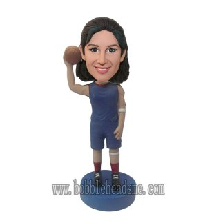 Female Basketball Player With Basketball Bobble Head Doll