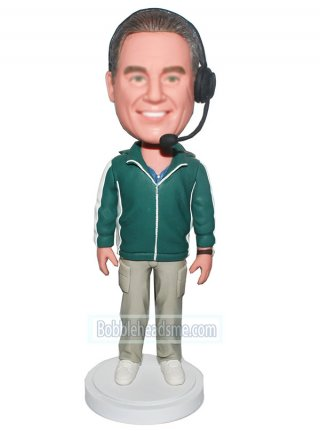 Customized Bobblehead Male Referee With A Headset