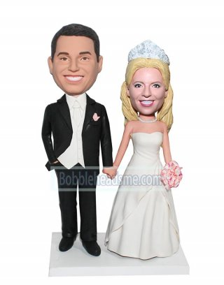 Customized Bobblehead Doll Tuxedo Groom Holding Hand Of Bride