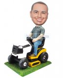 Customized Bobblehead Doll Male Driving A Weeding Machine