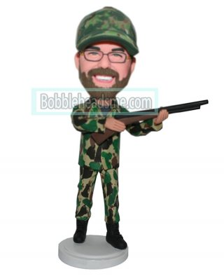Custom Military Bobbleheads Male In Camouflage Holding A Riffle