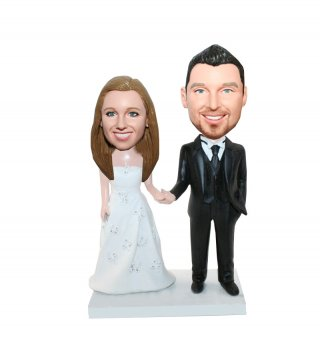 Customized Wedding Bobbleheads Hand in Hand
