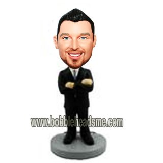 Customized Arms Acrossed Businessman In Suit Bobbleheads