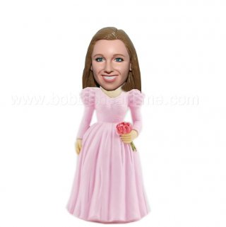 Bobble Bridesmaid in Pink with Roses Customized Doll
