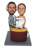 Custom Bobble Heads DJ Wedding Couple Standing Around Turn Table