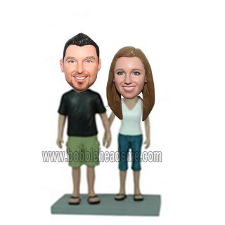 Casual Dress With Slippers Couple Bobblehead