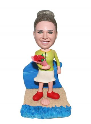 Personalized Birthday Bobblehead Female With Bouquet On The Beac