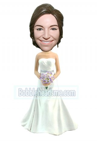 Personalized Bobblehead Bridal In White Gown Holding A Bouquet